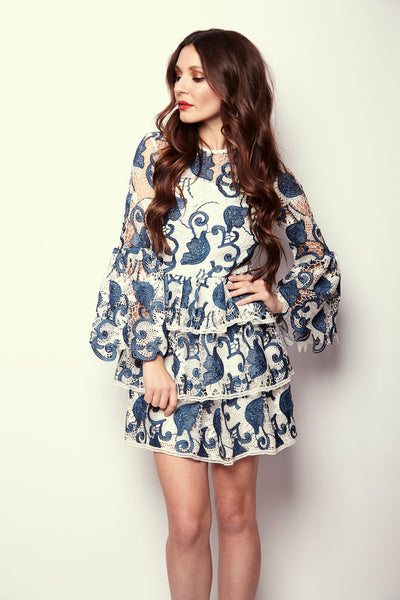 Santorini Bell Sleeve Mini Dress by Alexis - RENTAL
