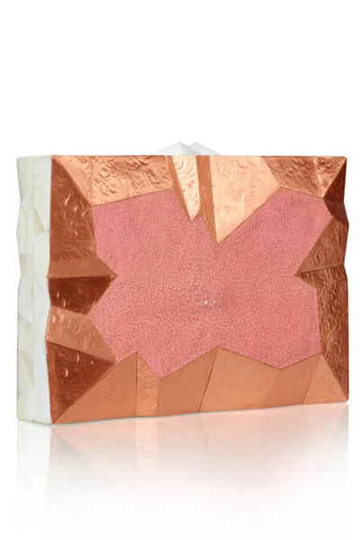 Abrohlos Pink and Bronze Clutch by Emm Kuo NY - RENTAL