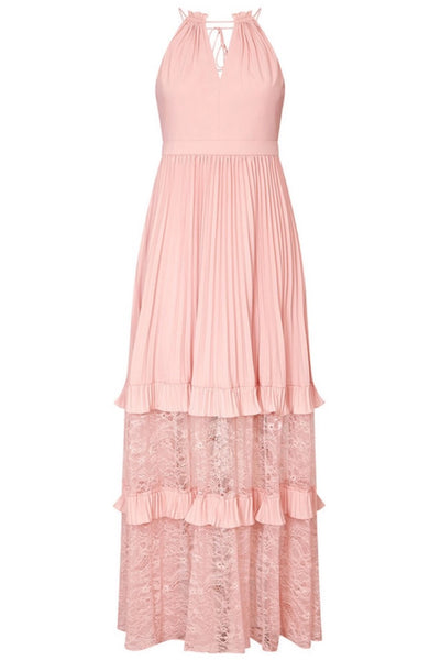 blush pink pleated gown by aidan mattox