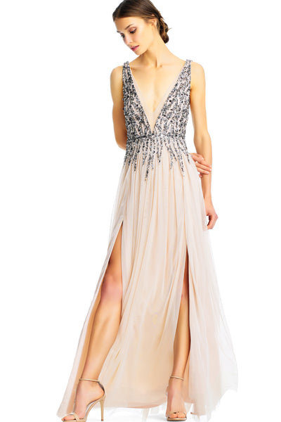 Beaded Tulle Nude and Silver Gown Aidan Mattox