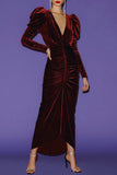 Ronny Kobo Alicia Velvet Dress Wine