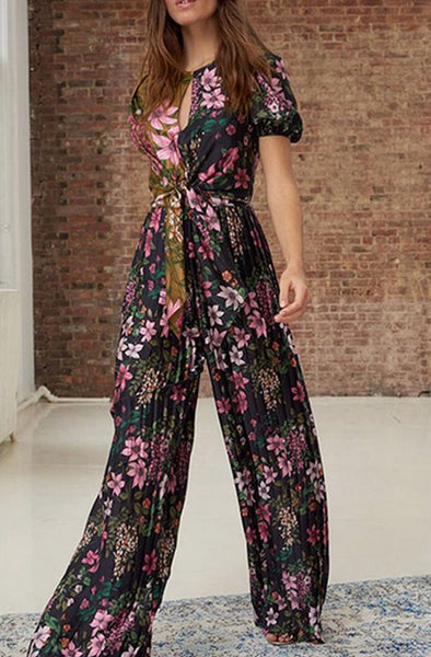 Alyssa Floral Pleated Jumpsuit by ML Monique Lhuillier - RENTAL