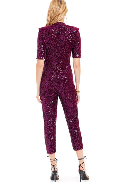 Mercury Sequin & Velvet Jumpsuit in Plum by Amanda Uprichard - RENTAL