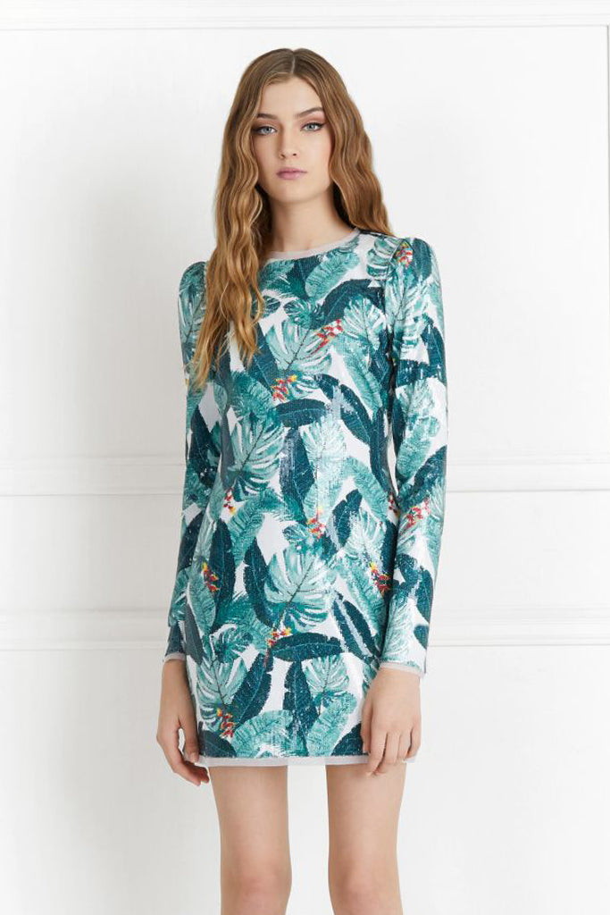 070d2199 Amelia Sequin Palm Print Dress by Rachel Zoe - RENTAL | The Fitzroy