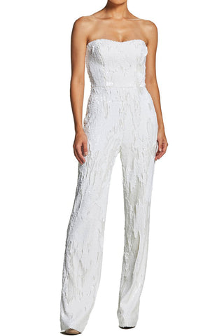 Andy White Sequin Jumpsuit by Dress The Population - RENTAL