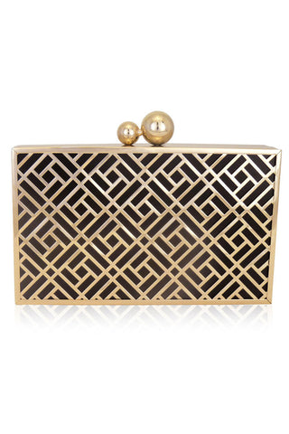 Anya Art Deco Metal Box Clutch by Inge Christopher - RENTAL