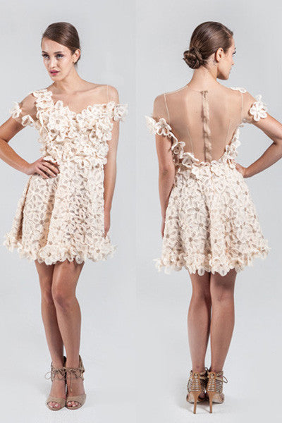 Floral Applique Dress by Narces - RENTAL