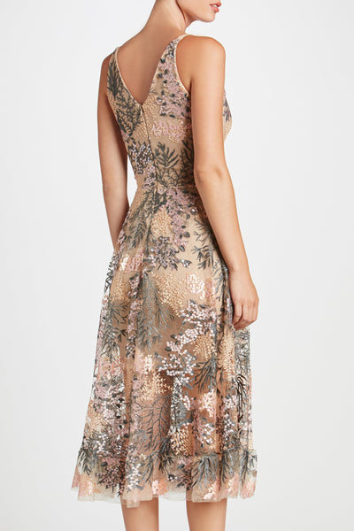 Audrey Embroidered Midi Dress by Dress The Population - RENTAL