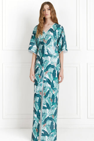 Autumn Sequin palm Print Caftan by Rachel Zoe