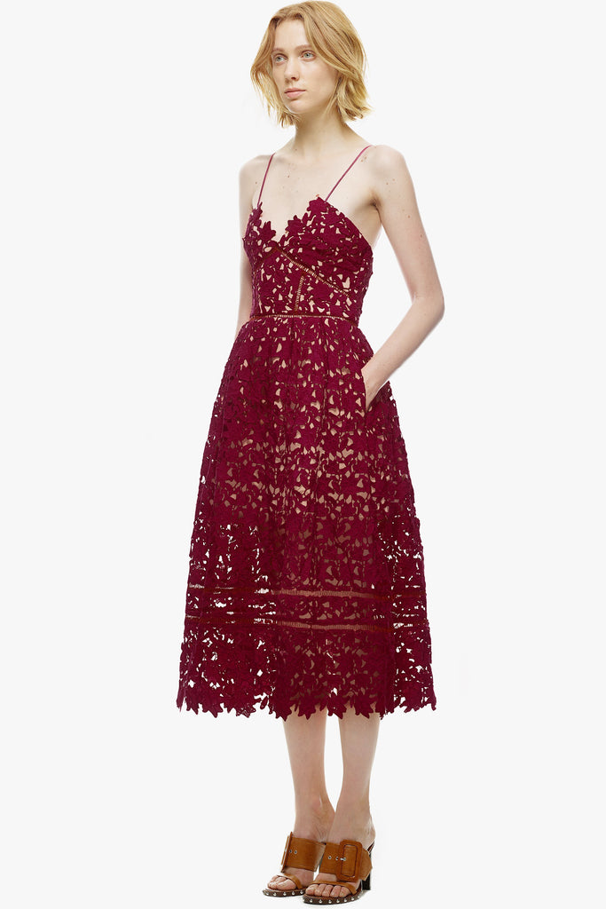 7c1b6767accb Azaelea Dress in Burgundy by Self Portrait - RENTAL | The Fitzroy