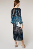 Coco Sequin Midi Dress in Midnight Ombre by Rixo London - RENTAL