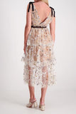 Nola Nude Mesh Embroidered Tulle Midi Dress by Self Portrait - RENTAL