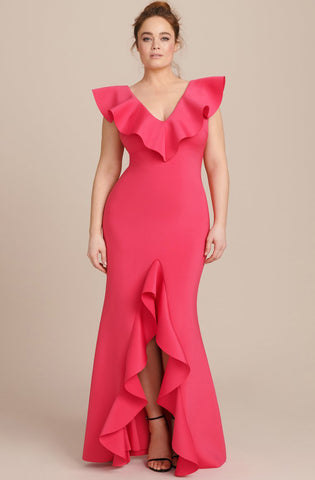 Laurie Scuba Ruffle Gown by Badgley Mischka - RENTAL