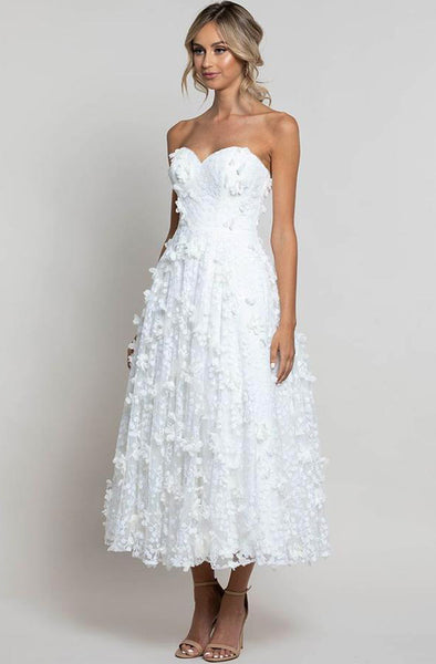 Bariano Adela Petal Midi Sweetheart White Dress