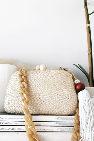 Charlotte Mini Woven Clutch Bag in Beige by Serpui - RENTAL