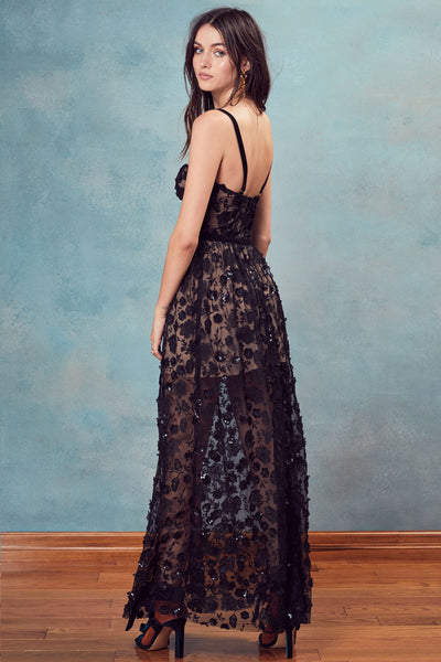 Bouquet Strappy Maxi in Black by For Love and Lemons - RENTAL