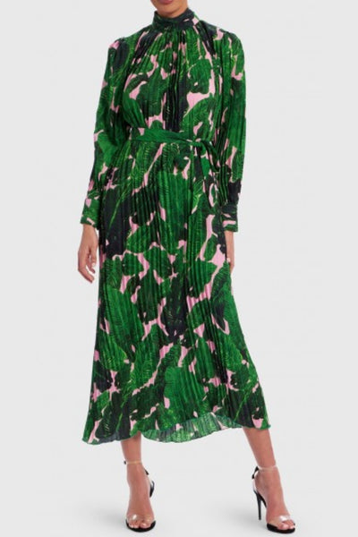 Pleated palm print dress for rent The Fitzroy Toronto