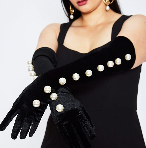 Black Velvet Gloves With Oversized Pearl Accents