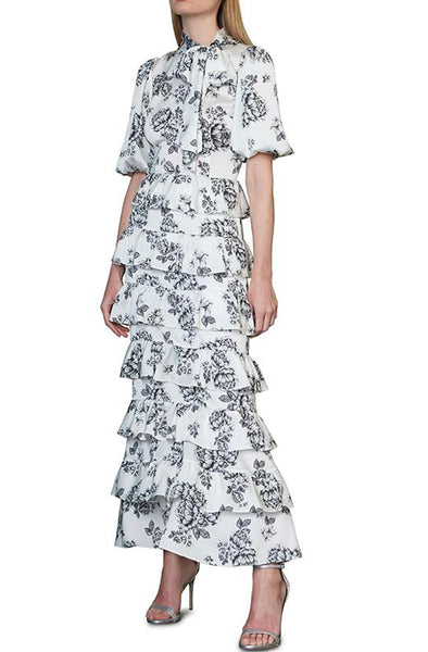 Avignon Printed Midi Dress by ML Monique Lhuillier - RENTAL