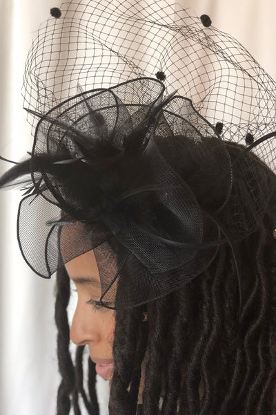 Dolce Black Fascinator - RENTAL