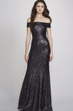 Leigh Off The Shoulder Black Sequin Gown by Theia Couture - RENTAL