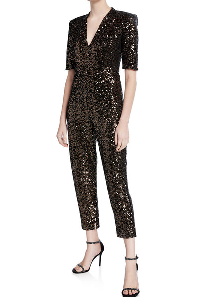 Mercury Sequin & Velvet Jumpsuit in Black & Gold by Amanda Uprichard - RENTAL