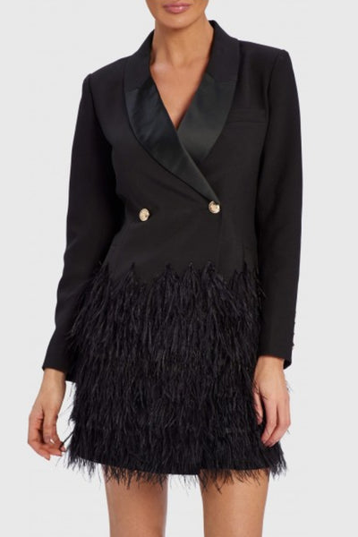 Keaton Feather Blazer Dress by Forever Unique - RENTAL