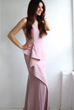 Jillian Ruffle V-Neck Blush Gown by Bariano - RENTAL