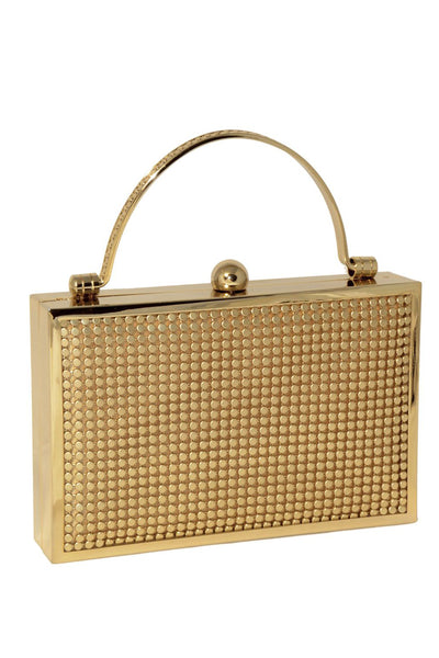 Bond Street Box Clutch in Gold by Whiting and Davis - RENTAL