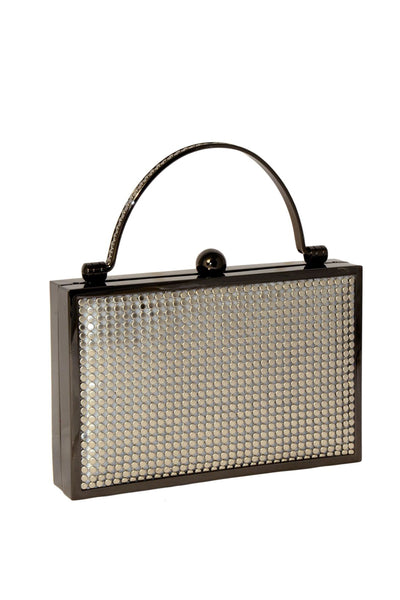 Bond Street Box Clutch in Pewter by Whiting and Davis - RENTAL