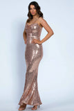 Rosegold sequin cowl neck gown rental