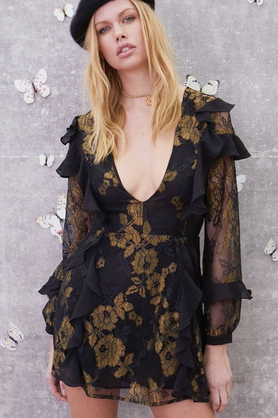 Bumble Long Sleeve Ruffle Dress by For Love and Lemons - RENTAL
