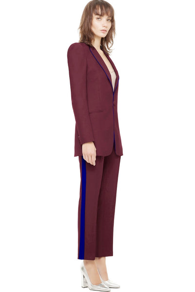 Smoking Suit in Burgundy and Blue by Hebe Studio - RENTAL