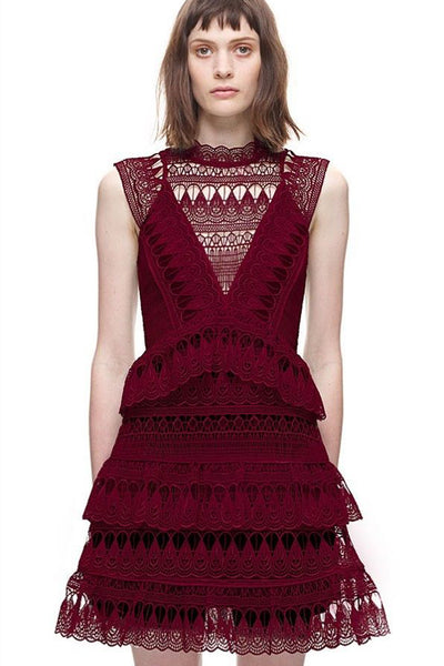 Self Portrait Burgundy Teardrop Guipure Lace Dress