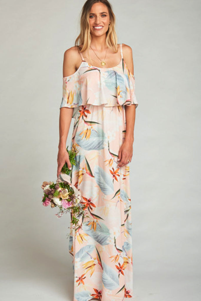 0bfdd32f3ab Caitlin Cold Shoulder Ruffle Dress in Paradise Party by Show Me Your Mumu -  RENTAL ...
