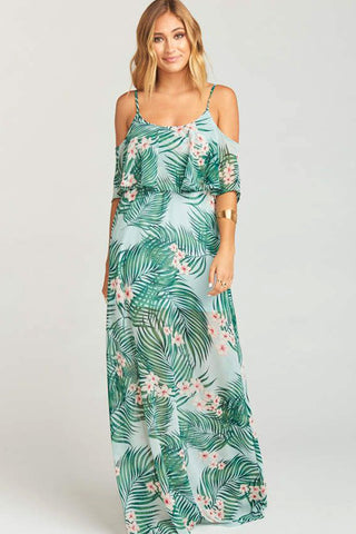 Caitlin Cold Shoulder Ruffle Dress in Hanalei Dream by Show Me Your Mumu - RENTAL