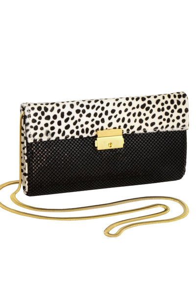 Polka Dot Pony Hair Clutch by Whiting and Davis - RENTAL