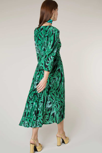 Camellia Green Tiger Print Midi Dress by Rixo London - RENTAL