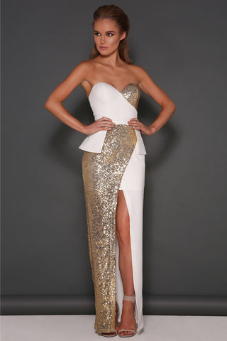 Cara Gown in White by Elle Zeitoune - RENTAL