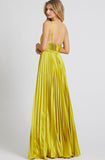 Chartreuse Pleated Wide Leg Jumpsuit by Mac Duggal - RENTAL