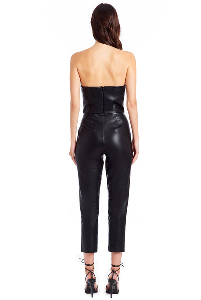 Cherri Jumpsuit in Black Leather by Amanda Uprichard - RENTAL