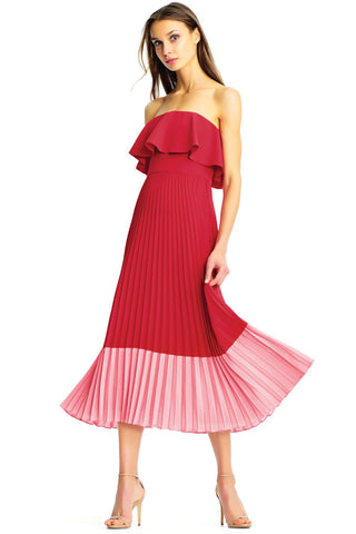 Ren and pink pleated dress by Aiden Mattox