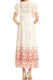 Clementine White Lace Applique Midi Dress by ML Monique Lhuillier - RENTAL