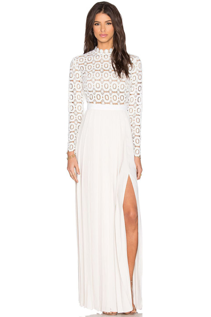 1f859e664a42 Crochet Pleated Maxi Dress in White by Self Portrait - RENTAL | The ...