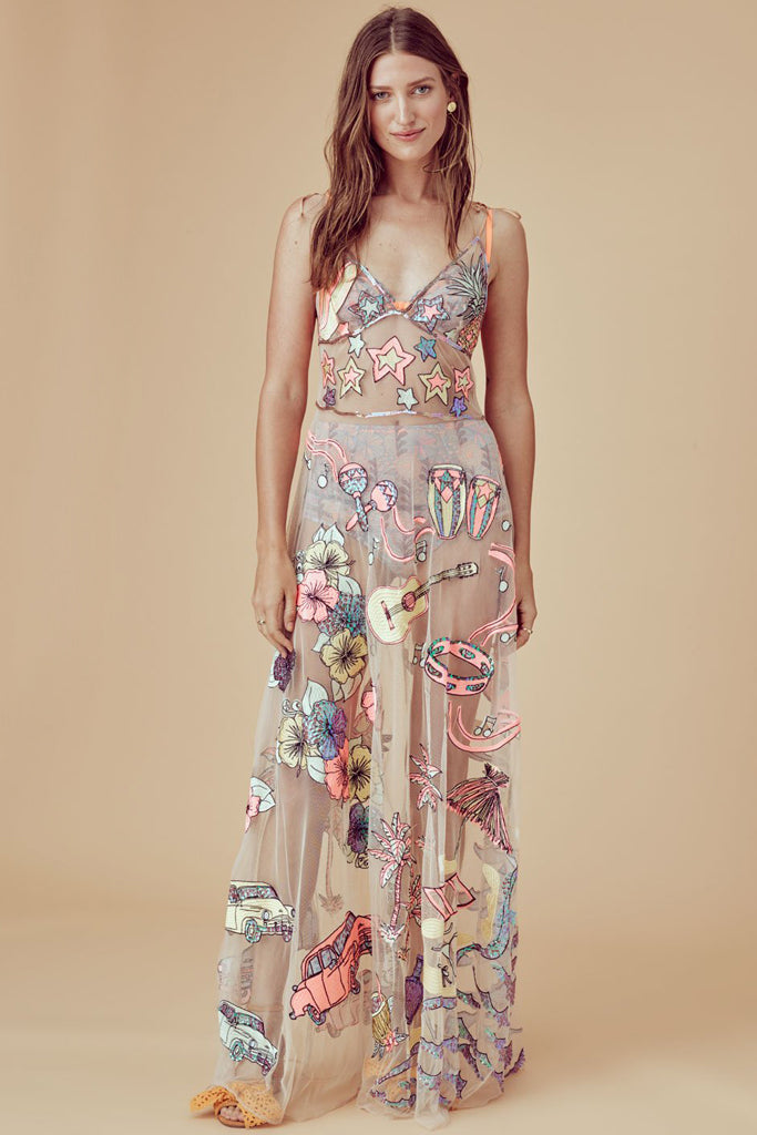 Cuba Embroidered Sequin Maxi Dress By For Love And Lemons Rental