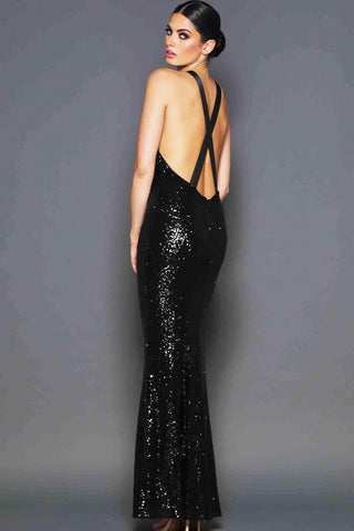 Danny Sequin Gown in Black by Elle Zeitoune - RENTAL