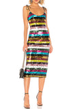 Sequin rainbow striped midi dress