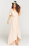 Sophia Wrap Dress in Dusty Blush Crisp by Show Me Your Mumu - RENTAL