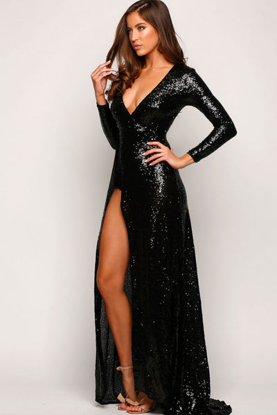 Fontaine Black Sequin Gown by Elle Zeitoune - RENTAL
