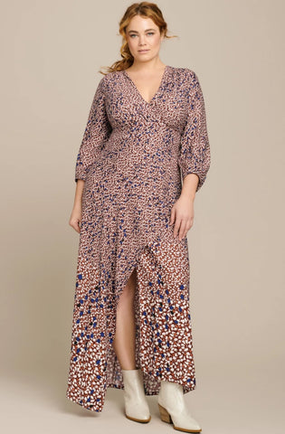 Hannah Falling Leaf Twill Wrap Dress by Yigal Azrouel - RENTAL